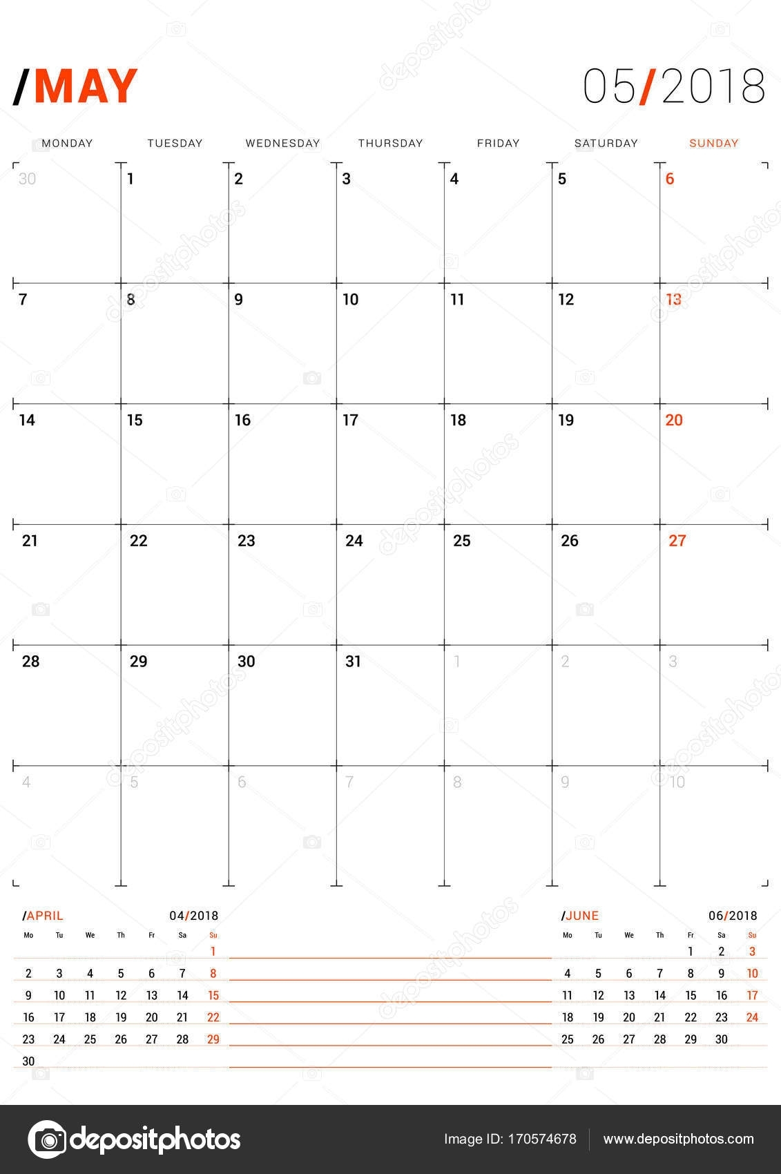 May 2018. Vector Print Template. Monthly Calendar Planner For 2018 intended for Monthly Planner Calender May 3 Months
