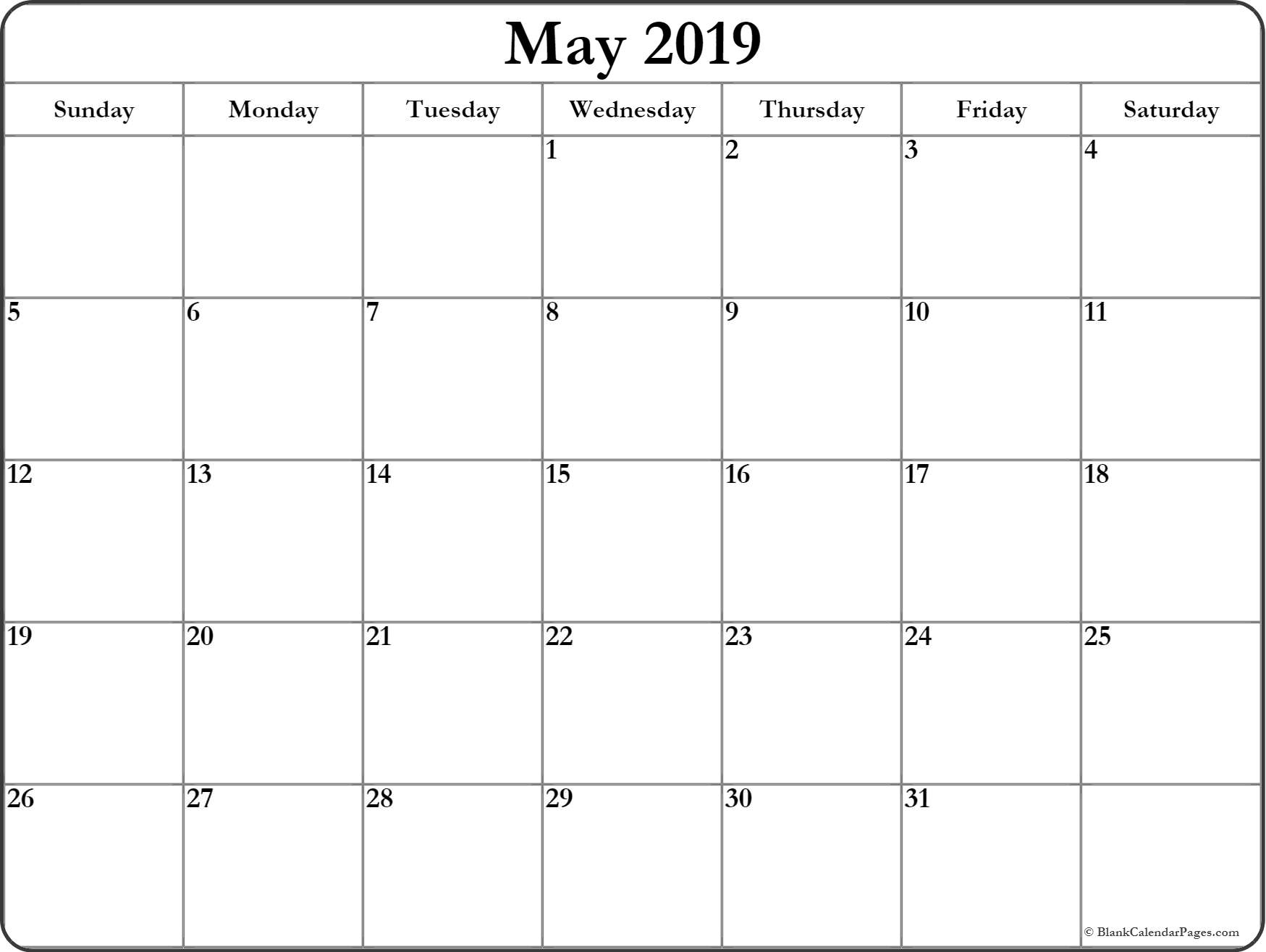 May 2019 Blank Calendar Templates. pertaining to Calendar To Print For Bills