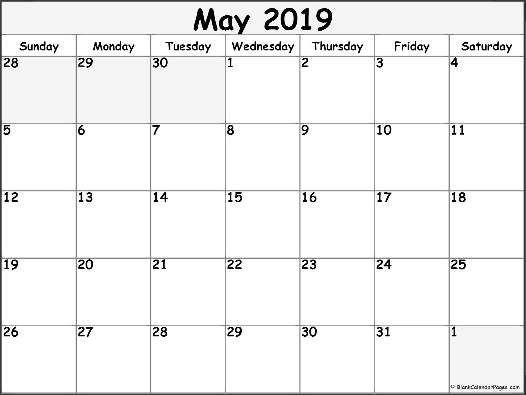 May 2019 Blank Calendar Templates. with Free Blank Printable Monthly Calendar