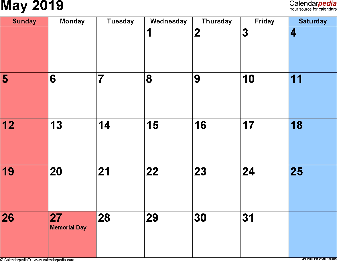 May 2019 Calendars For Word, Excel & Pdf for Monthly Planner Calender May 3 Months