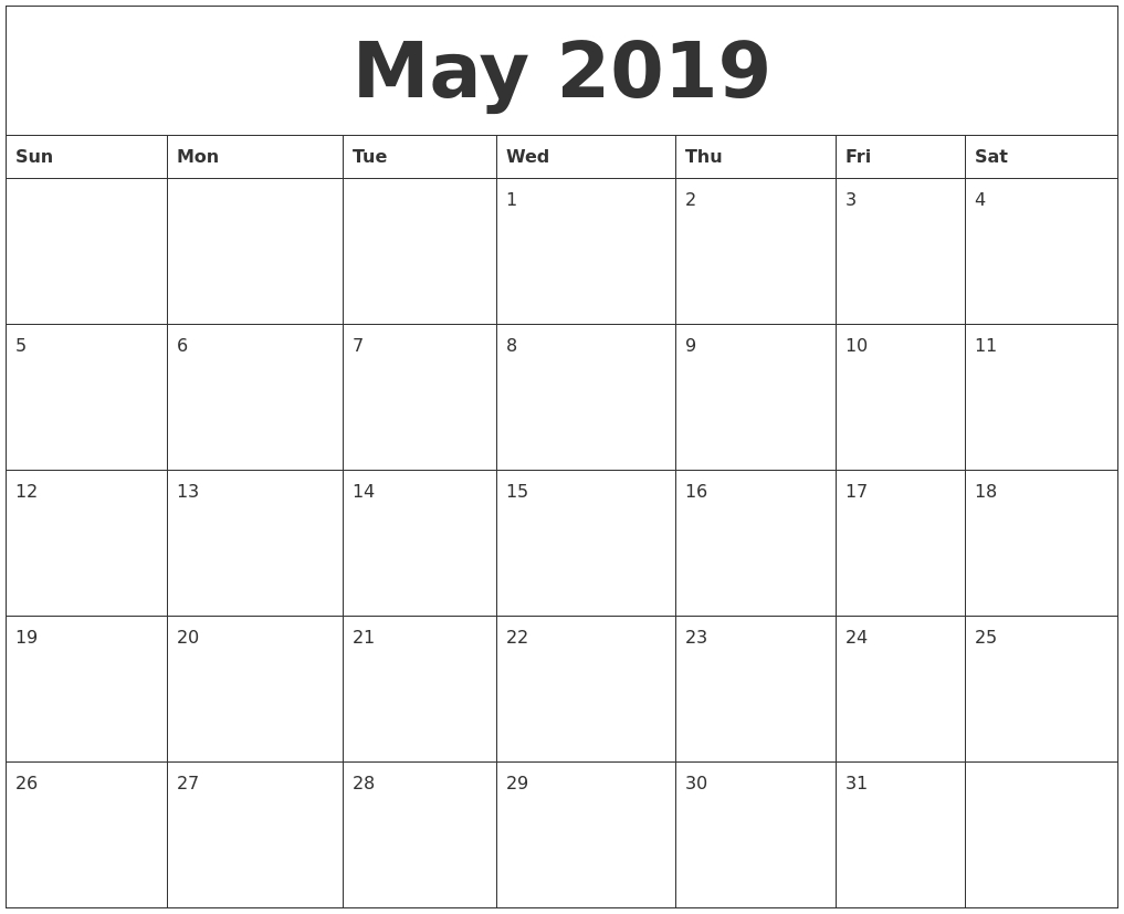 May 2019 Free Printable Monthly Calendar with Printable Month To Month Calendar