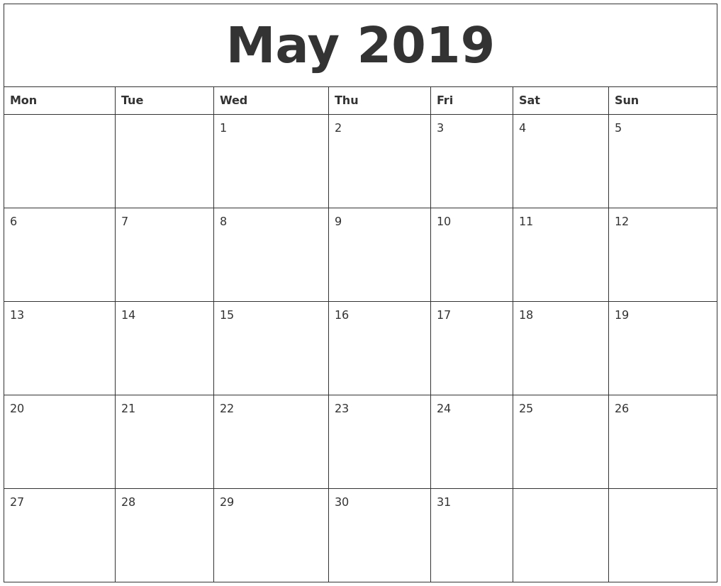May 2019 Free Printable Monthly Calendar within Free Printable Monthly Calendar With Lines