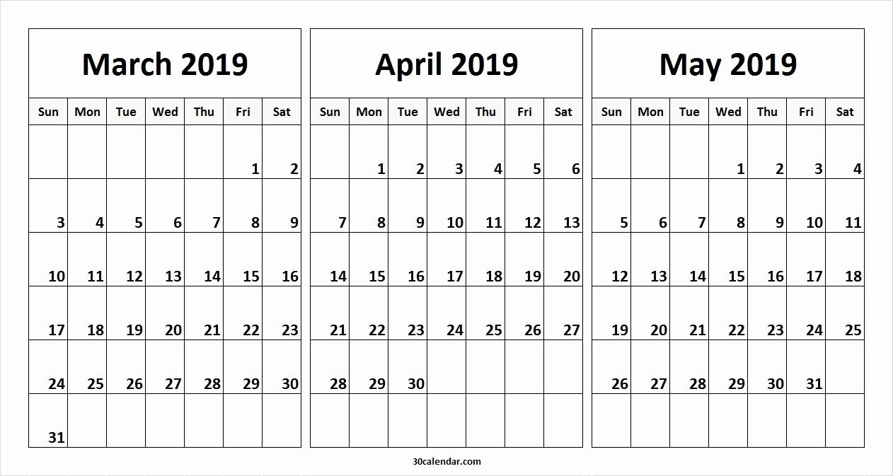 May 2019 Printable Calendar Vertical March April May Calendar 2019 3 regarding Free Printable Calendars 3 Month