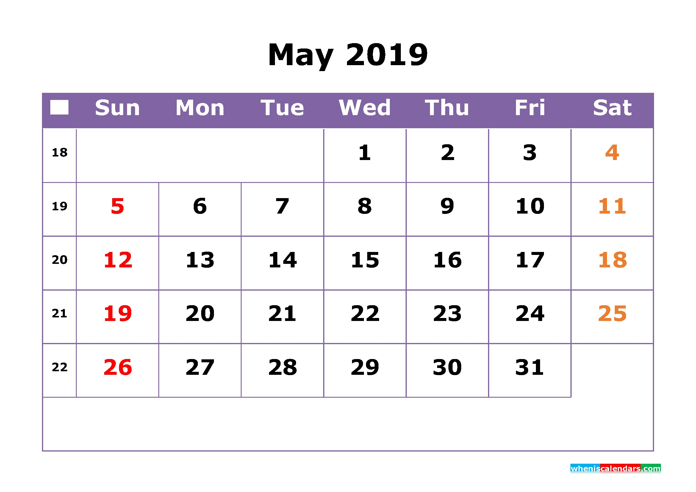 May 2019 Printable Calendar With Week Numbers For Free Download with regard to Calendar By Week With Printable