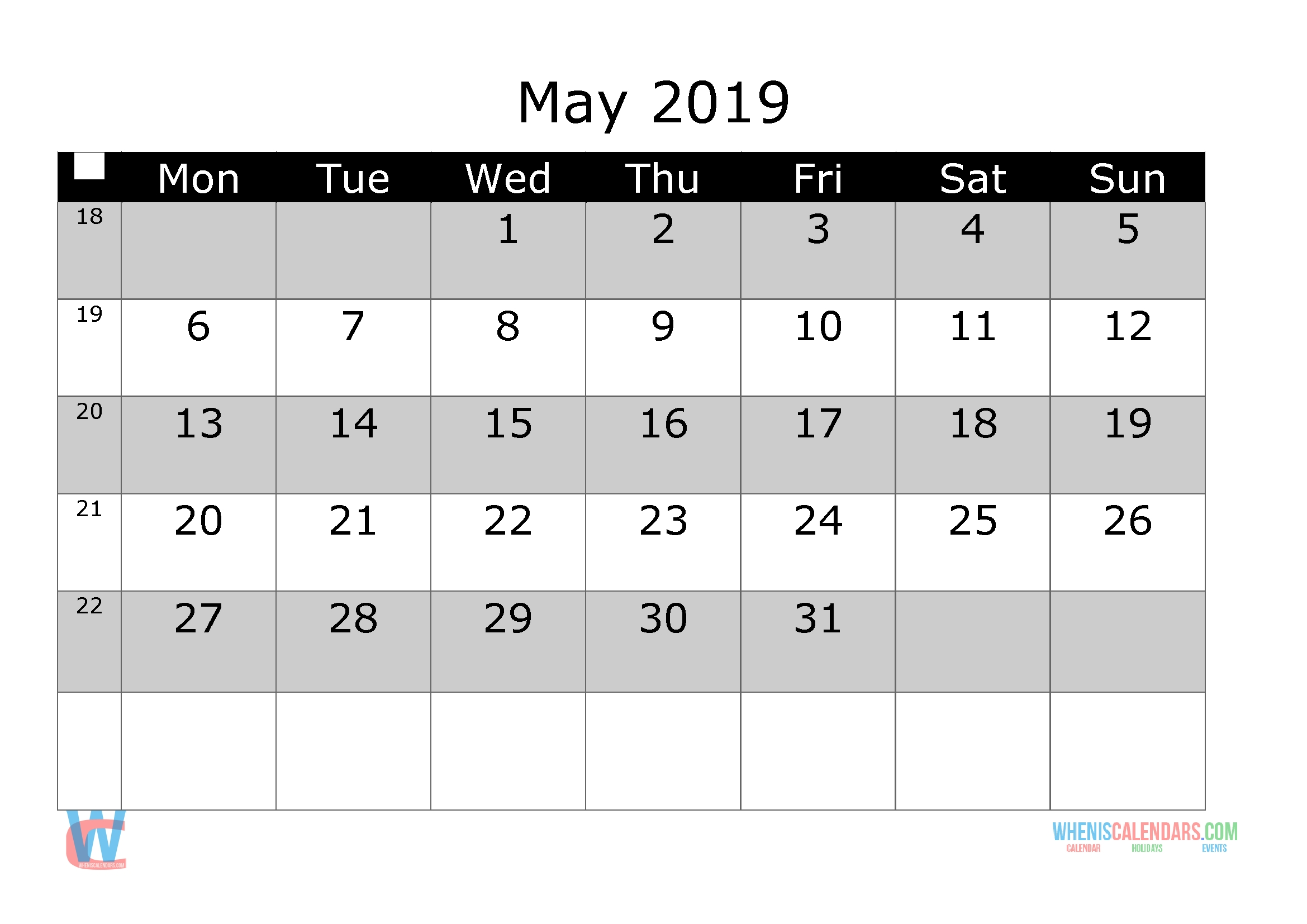 May 2019 Printable Monthly Calendar With Week Numbers [ Monday intended for Week By Week Mowing Calendar Templates