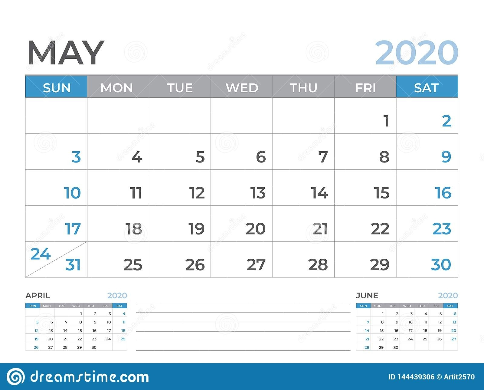 May 2020 Calendar Template, Desk Calendar Layout Size 8 X 6 Inch for 10 X 8 Planner Template