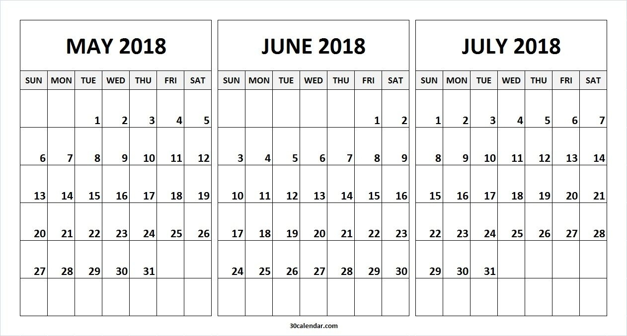 May June July 2018 Calendar To Print Online | 2018 Calendar | June in 3 Month Printable Calendar Online