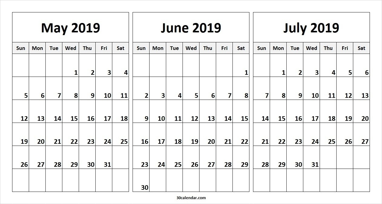 May June July 2019 Calendar (3 Months) Templates Printable – May for 3 Month Calendar Printable Template