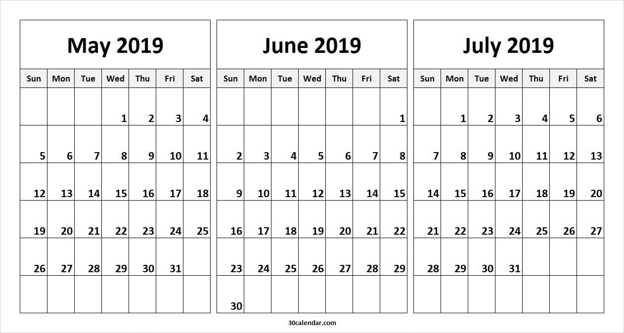 May June July 2019 Calendar (3 Months) Templates Printable – May in 3 Month Printable Calendar June July August