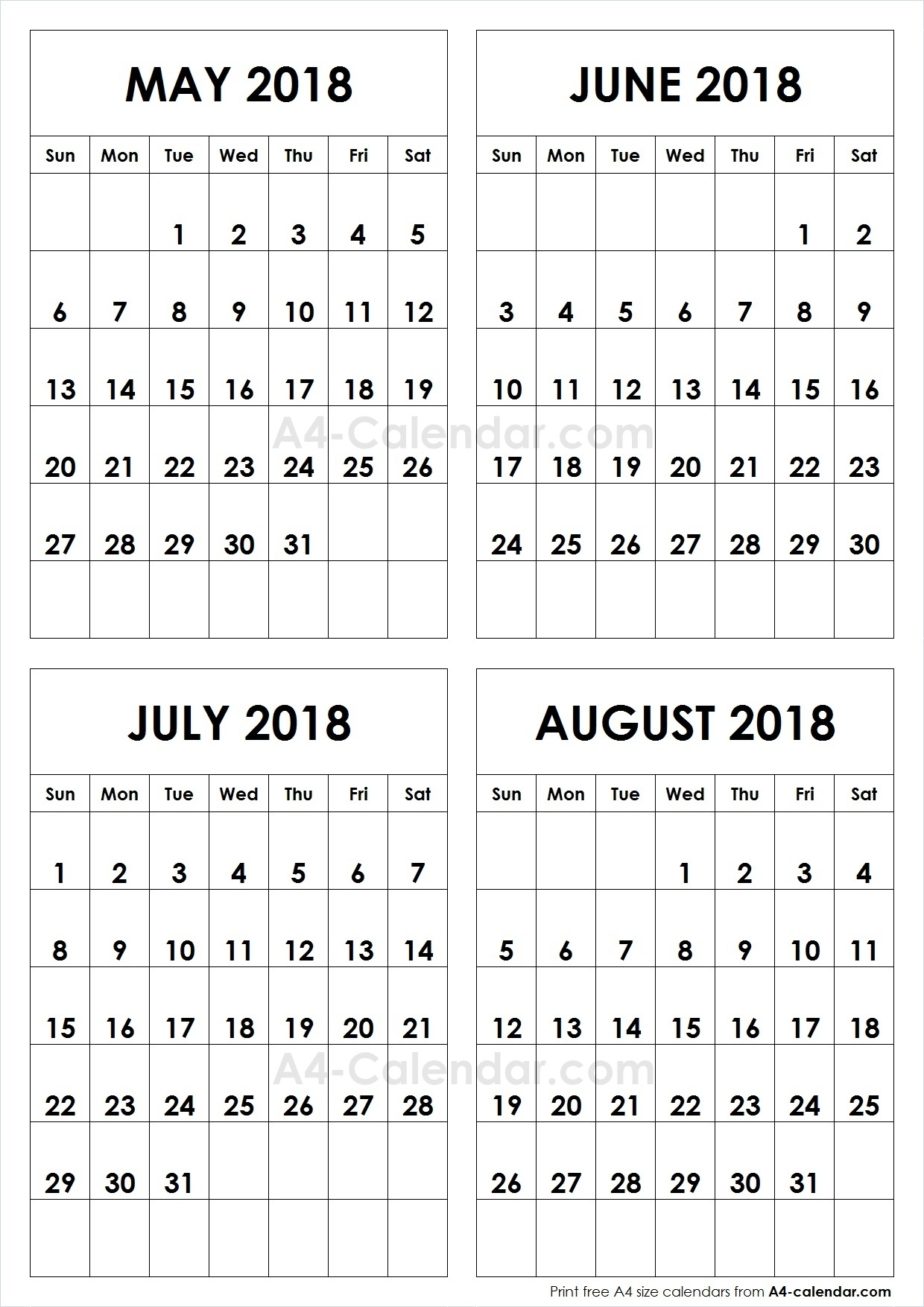 May June July August 2018 A4 Calendar | 4 Month Calendar Template throughout May June July August Calendar