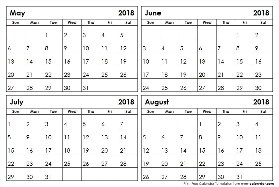 May June July August 2018 Calendar Blank Printable Template with May June July August Calendar