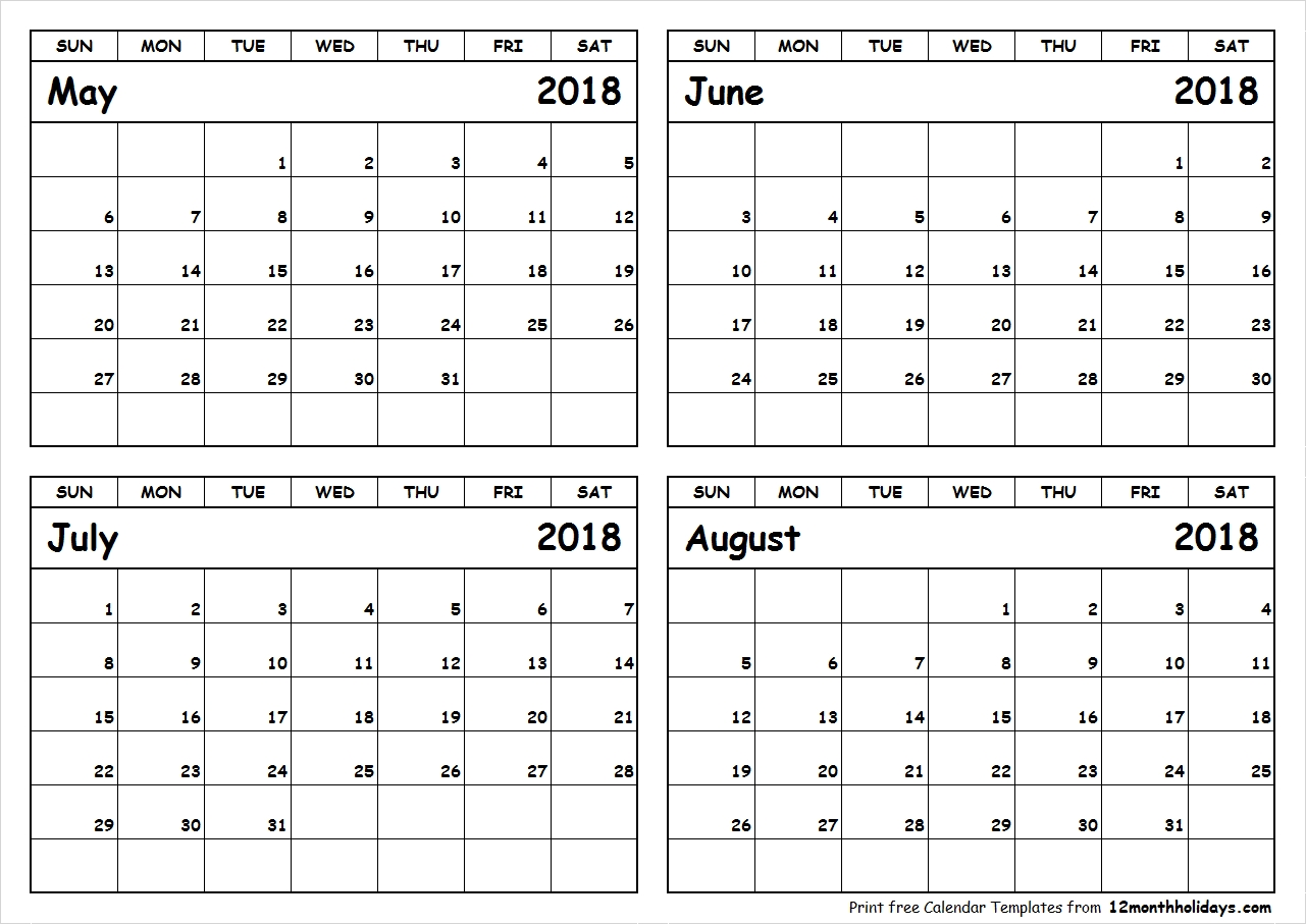May-June-July-August-2018-Calendar-To-Print - All 12 Month Calendar with Print Month Of June And July