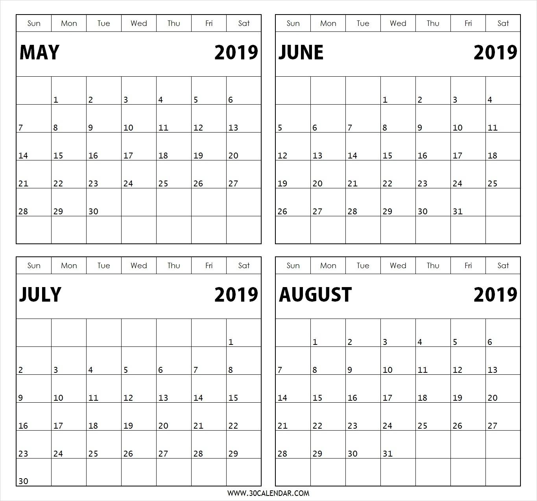 May June July August 2019 Calendar   4 Months Printable Template within May June July August Calendar