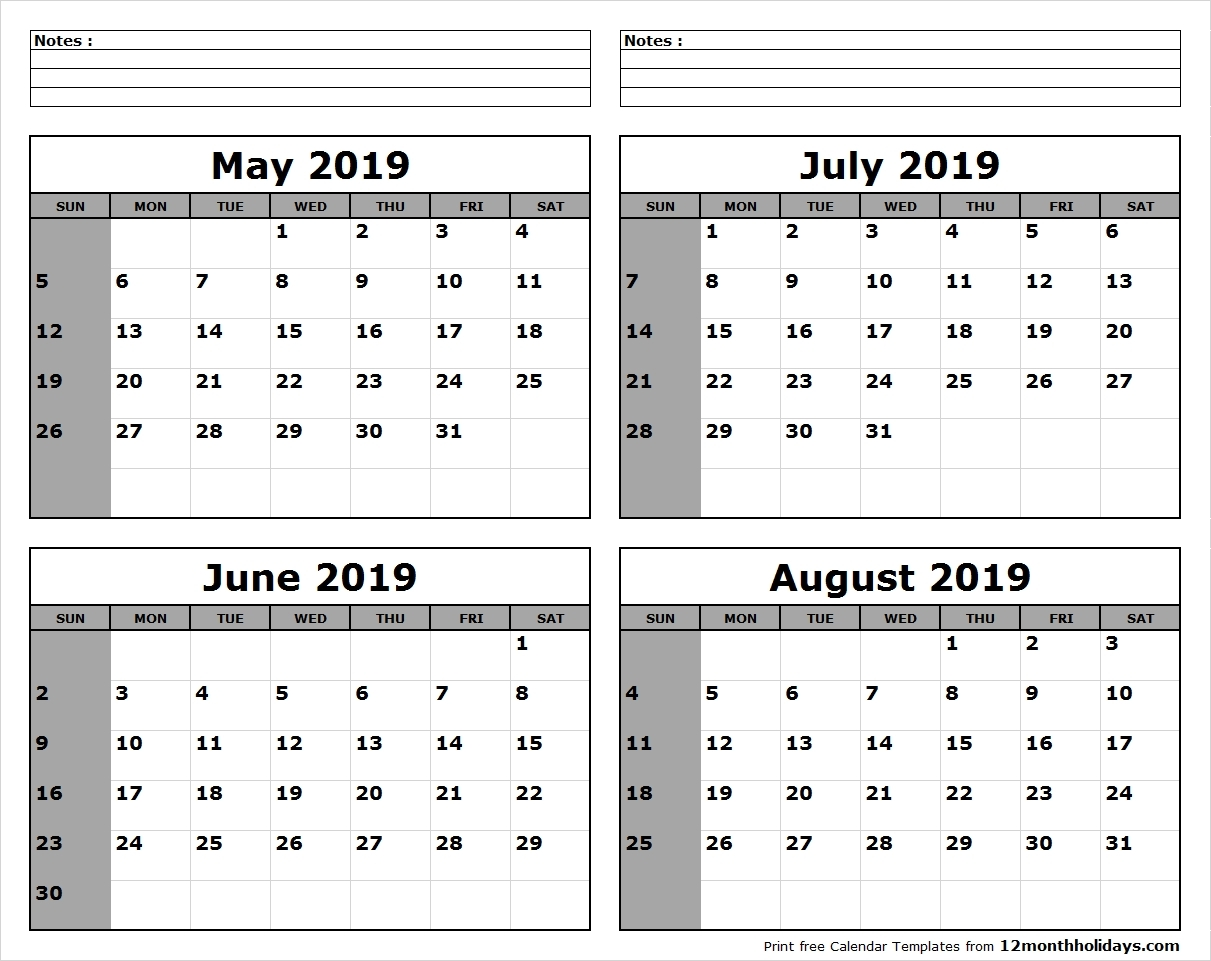 May June July August 2019 Calendar | Template Calendar Printable with Print Month Of June And July