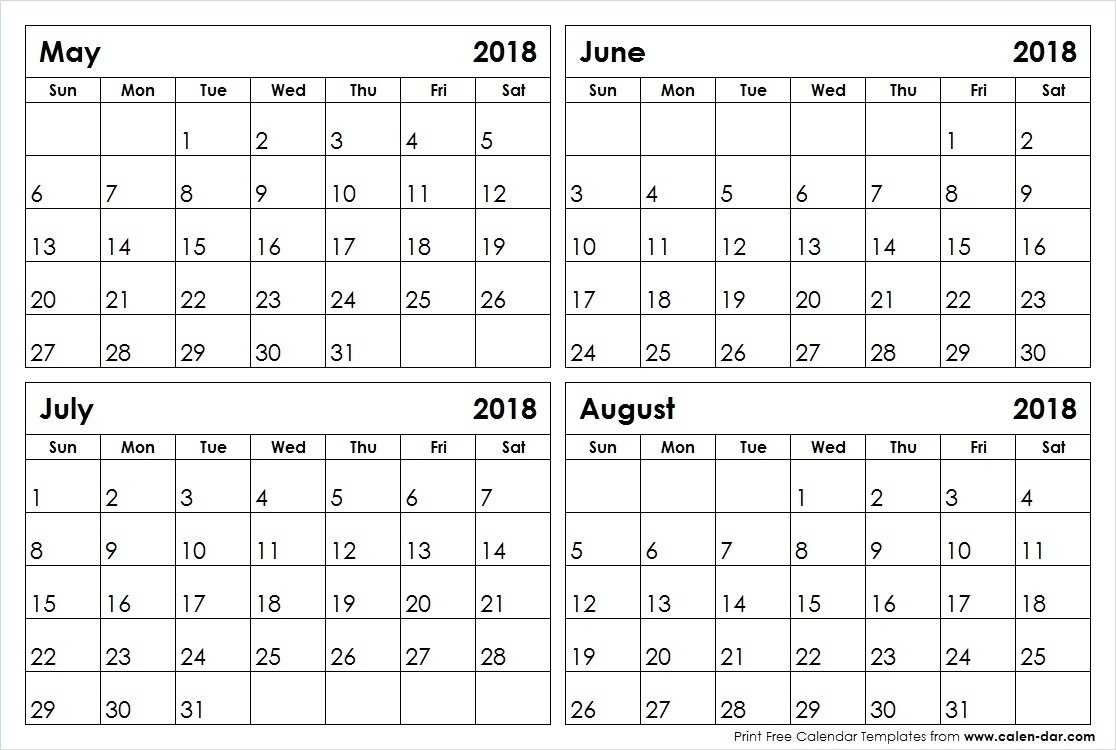 May June July August Calendar | Template Calendar Printable in Printable Calendar For May June July