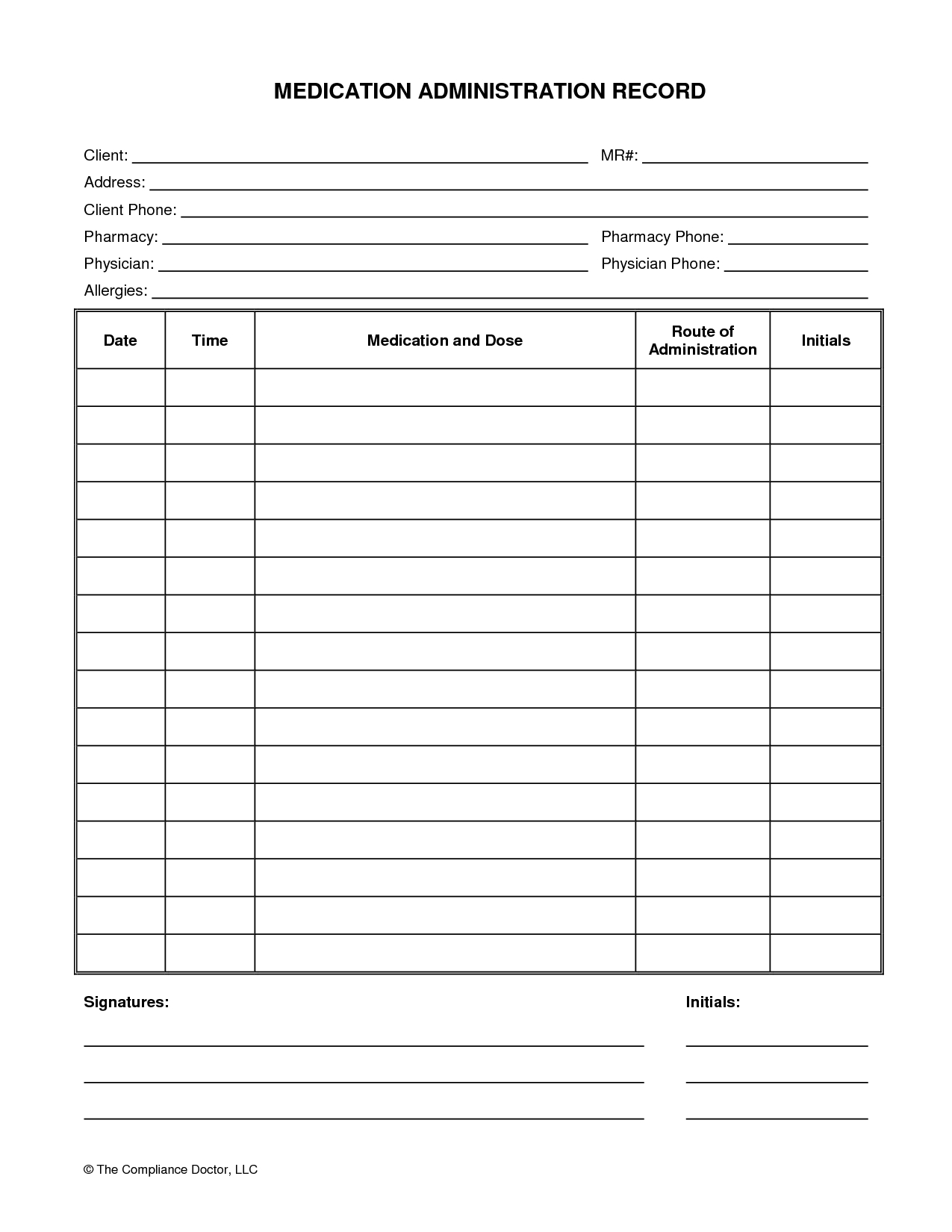 Medication Administration Record Form   Organization   Medication with Printable 30 Day Medication Sheet