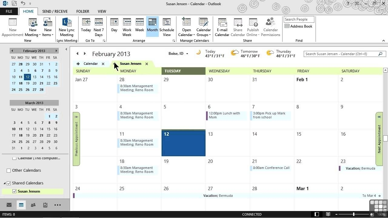 Microsoft Outlook 2013 Tutorial | Sharing Calendars And Outlook regarding How To See Vacation Calendar In Outlook