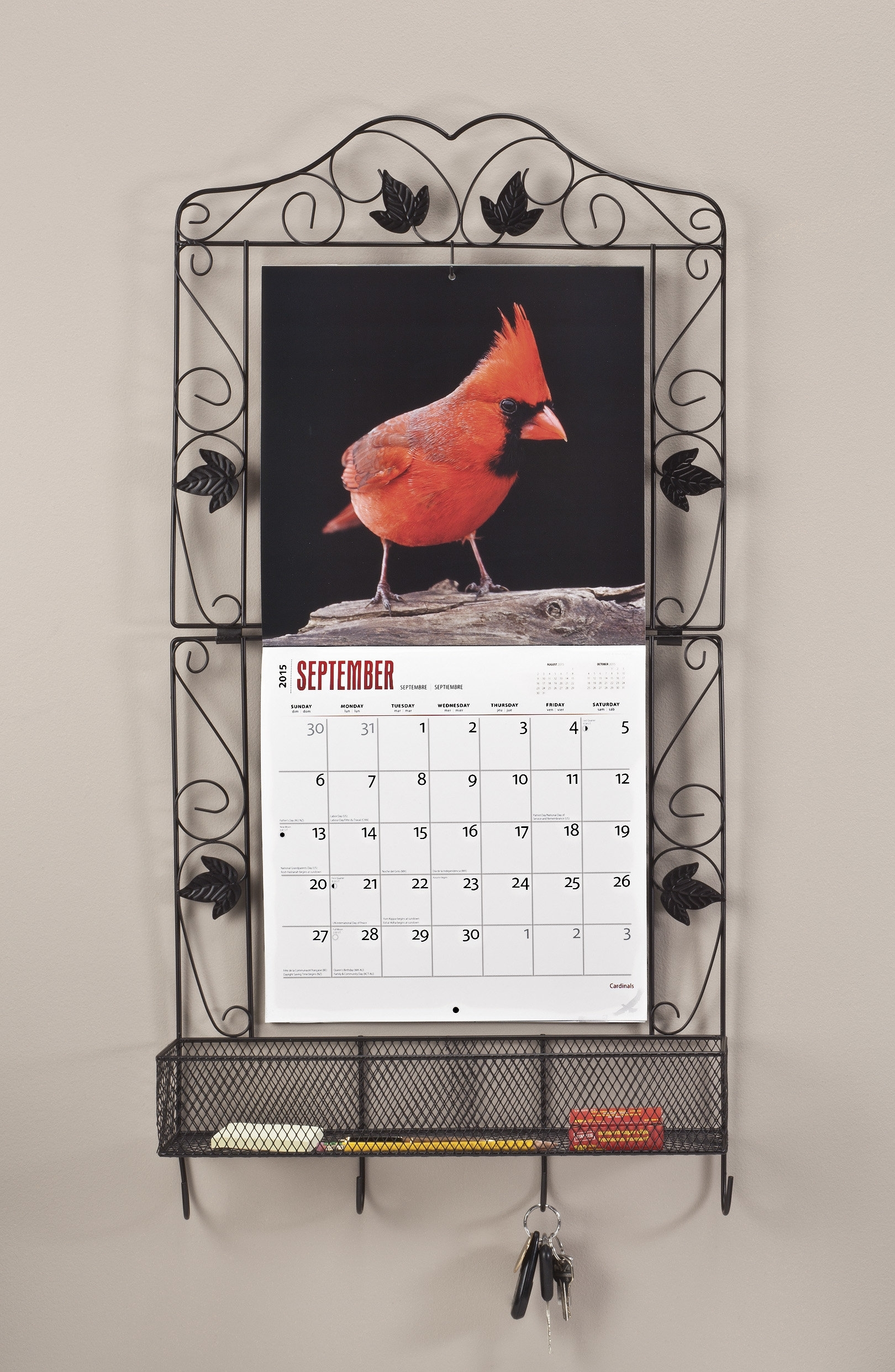 "Miles Kimball 17.25"" X 33.5"" X 4.50"" Calendar Holder With Basket And pertaining to Wall Calendar Frames And Holders"