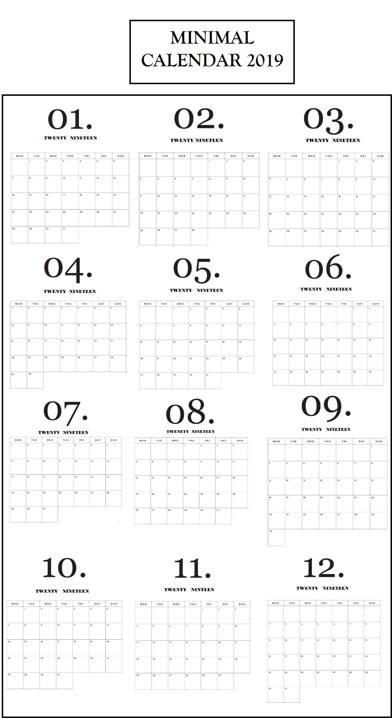 Modern Minimal 2019 Calendar | Idea | Calendar 2019 Printable intended for Year At A Glance Calendar Simple Design