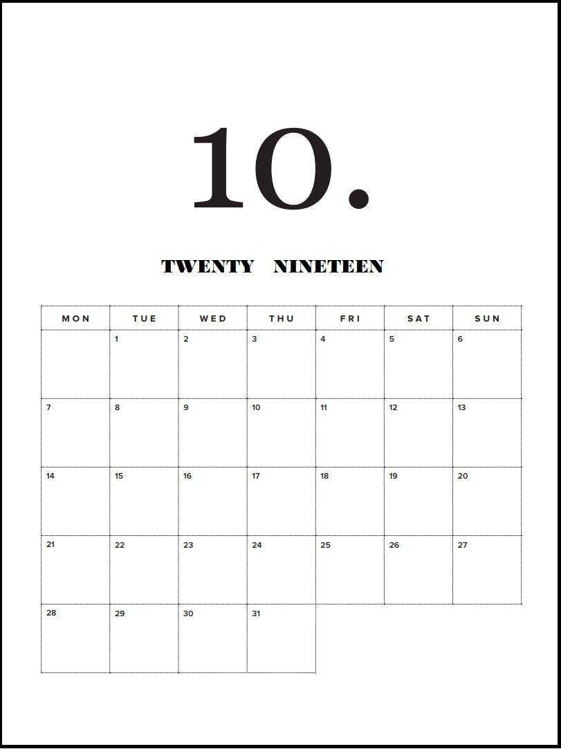 Modern Minimal October 2019 Calendar | Calendar 2019 | Minimal within Free Printable Blank Advent Activities List Minimal
