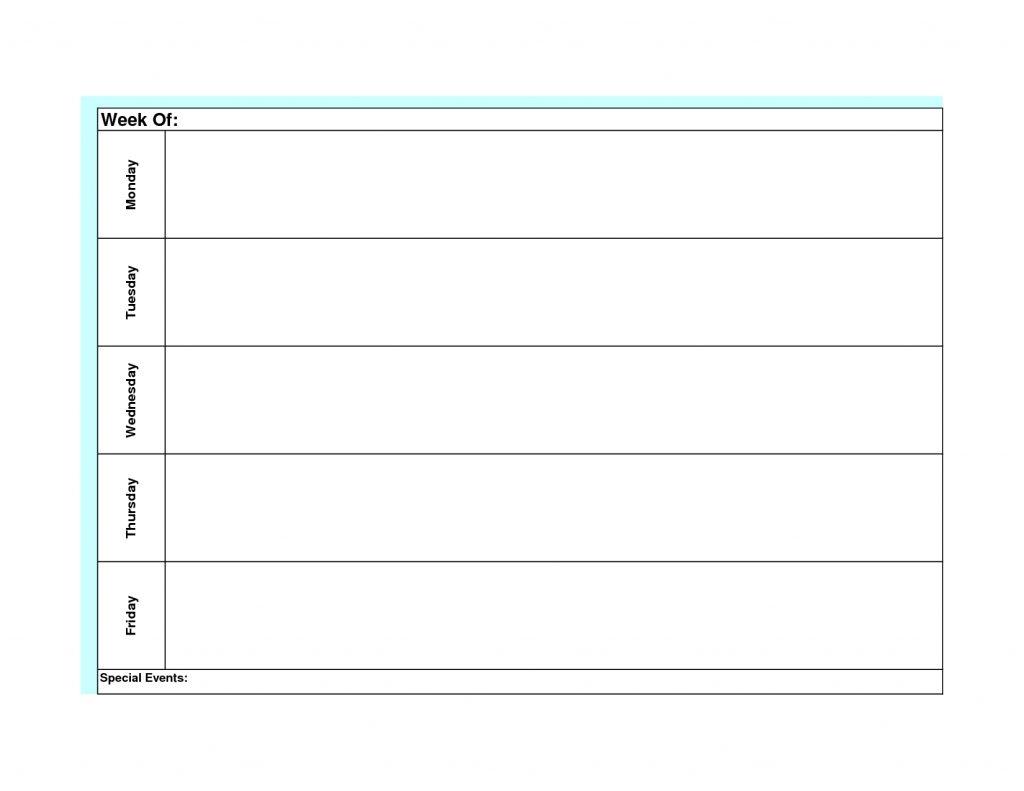 Monday Friday Calendar | Printable Calendar Templates 2019 with Monday Through Friday Calendar Template