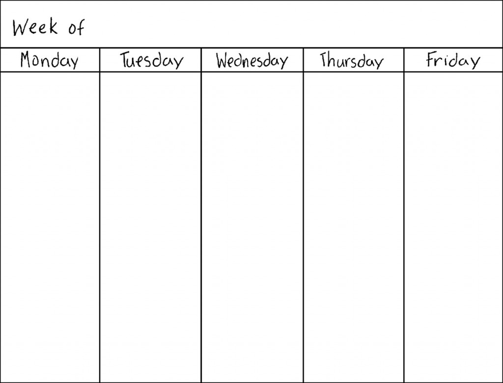 Monday Friday Schedule Template - Maco.palmex.co for Monday Through Friday Blank Schedule Print Out