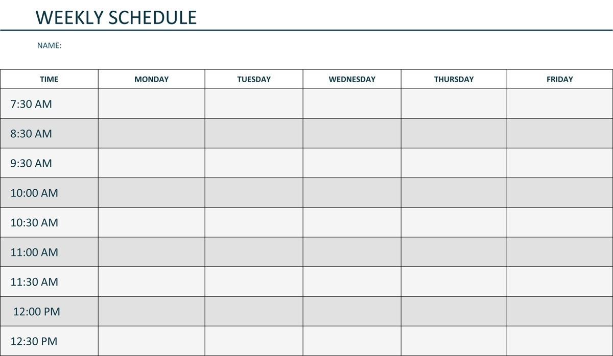 Monday Through Friday Printable Weekly Schedule | Hauck Mansion in Printable Monthly Calendar Template Monday Through Friday