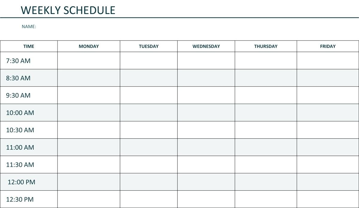 Monday Through Friday Schedule Template Hourly Weekly Time | Smorad throughout Printable Weekly Schedule Monday Through Friday