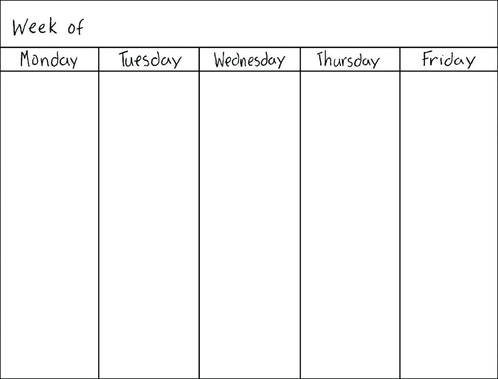 Monday Through Iday Weekly Calendar Template Schedule September With intended for Monday Thru Friday Calendar Template