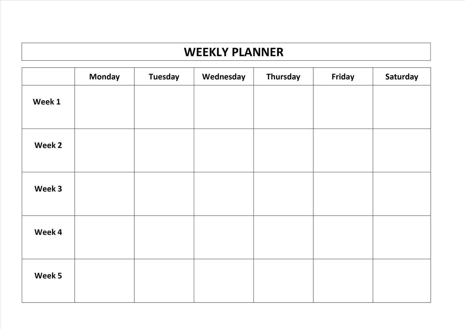 Monday Thru Friday Calendar Printable | Template Calendar Printable for Printable Weekly Schedule Monday Thru Friday