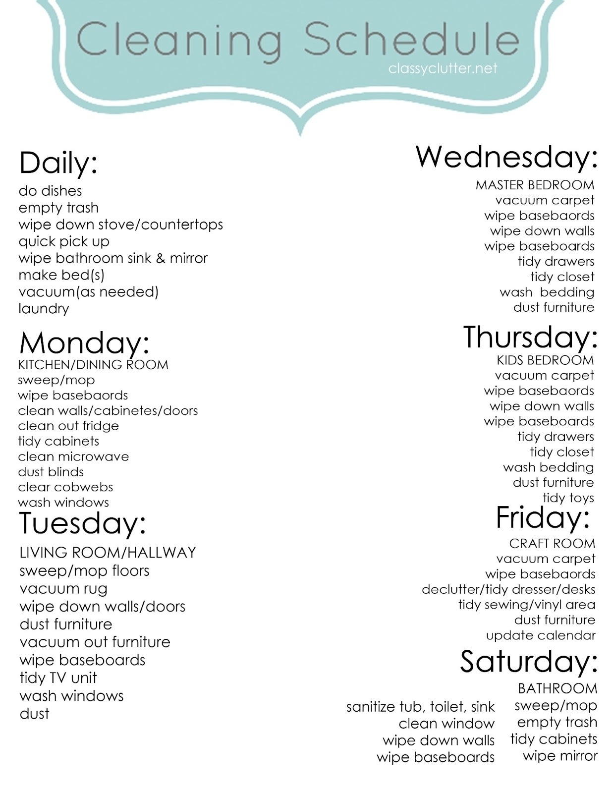 Monday To Friday House Cleaning Schedule | Template Calendar Printable inside Monday Through Friday Cleaning Schedule