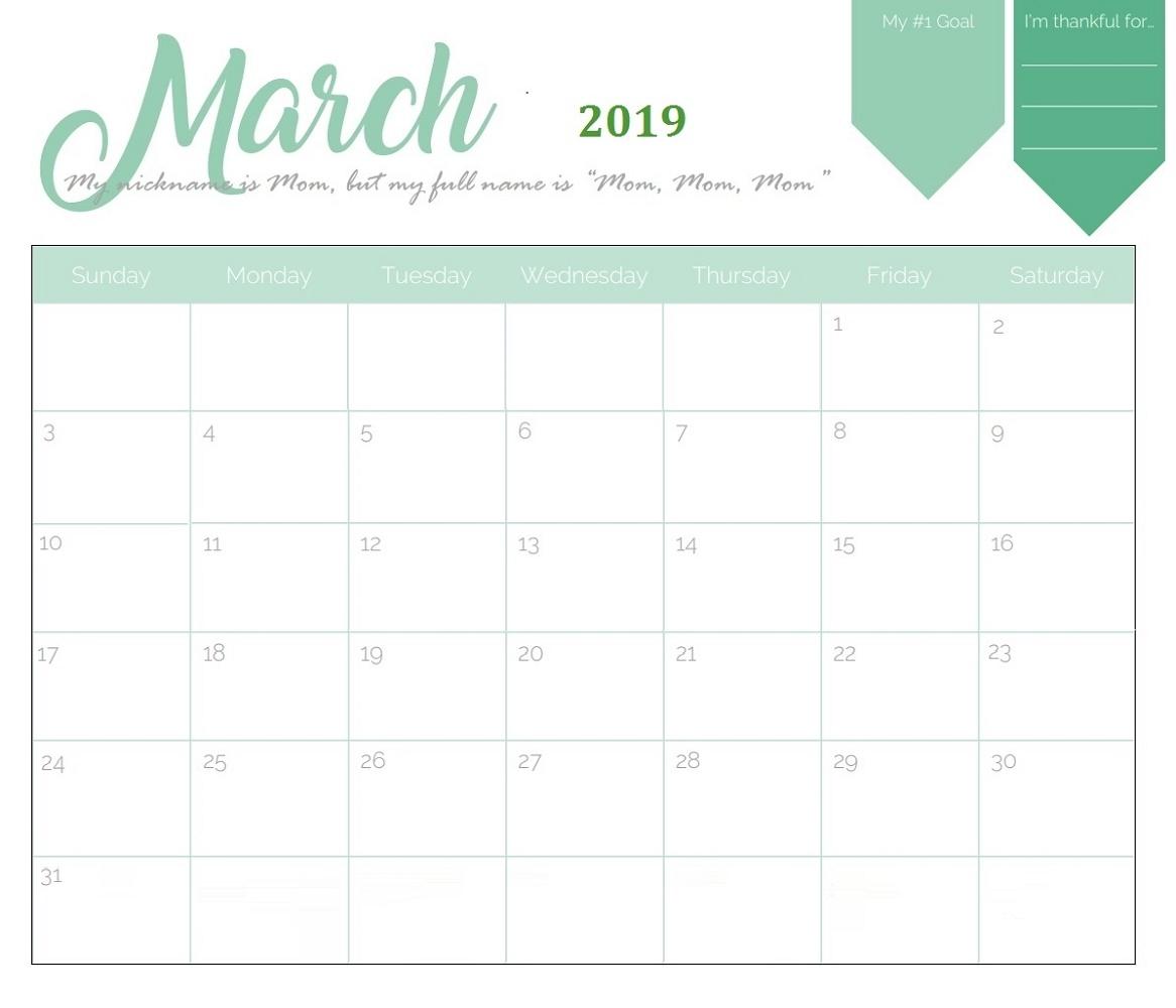 Month At A Glance Calendar Printable 2019 | Calendar Shelter regarding Month At A Glance Printable