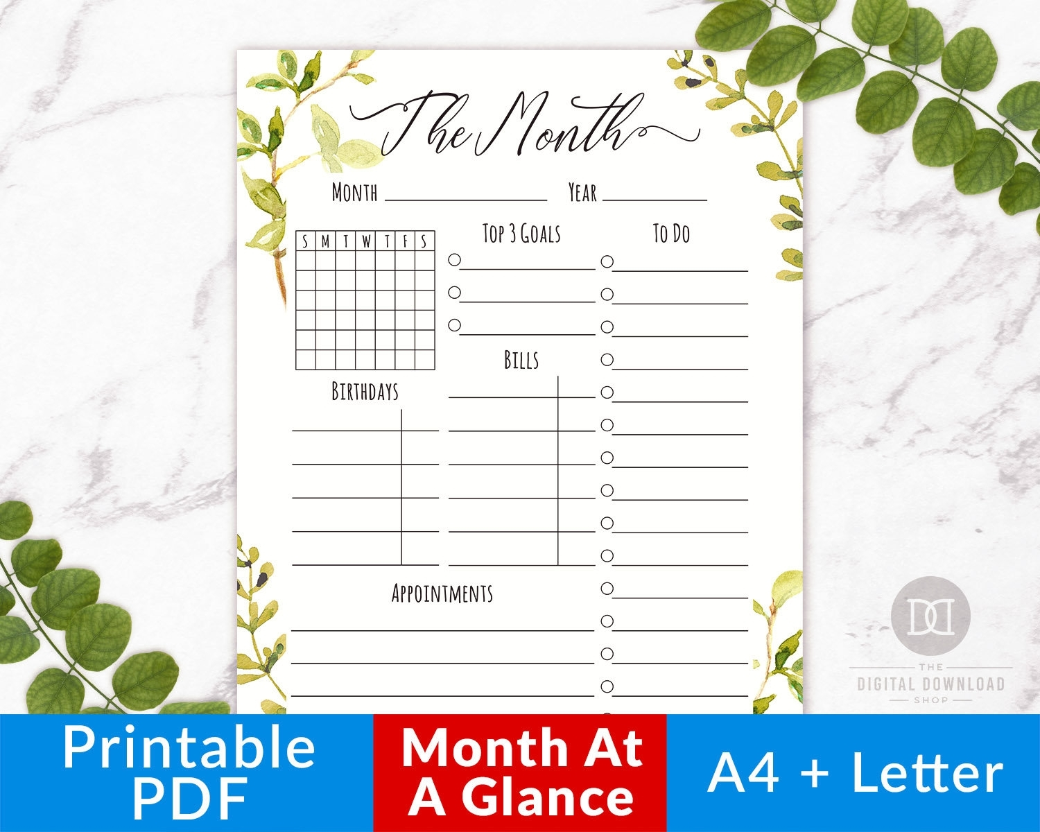 Month At A Glance Printable Watercolor Greenery Monthly | Etsy in Month At A Glance Printable