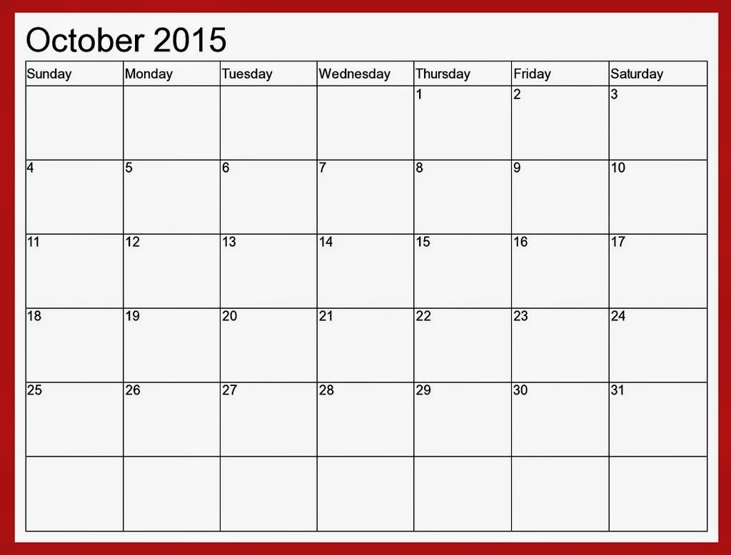 Month Calendar 2015 Template for Editable 2015 Monthly Calendar Template