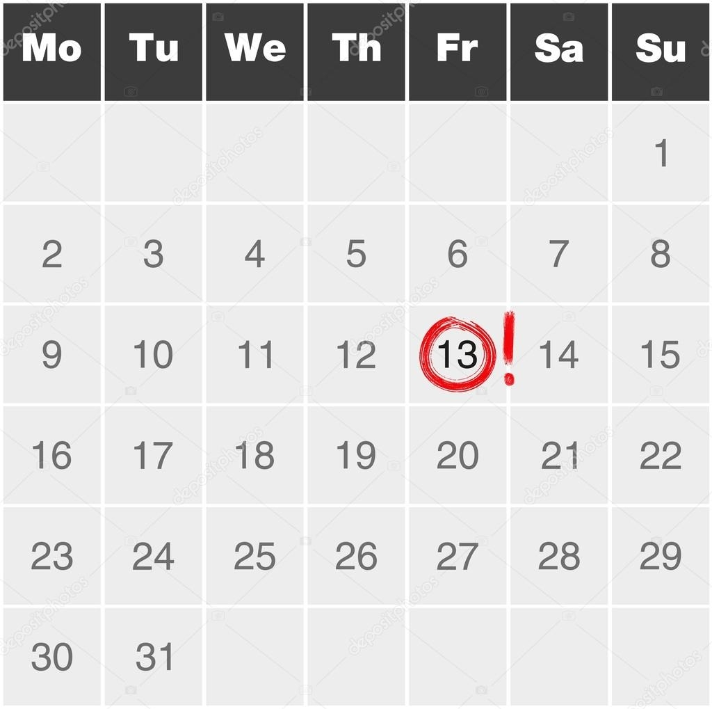 Month Calendar Monday To Sunday With Red Marked Friday 13Th — Stock pertaining to Calendar By Month Monday To Friday