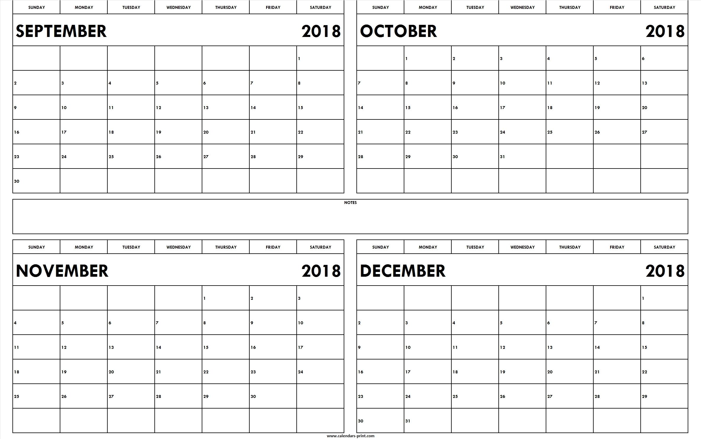 Month Calendar Printable Sept Oct Nov Dec | Template Calendar Printable for Month Calendar Printable Sept Oct Nov Dec