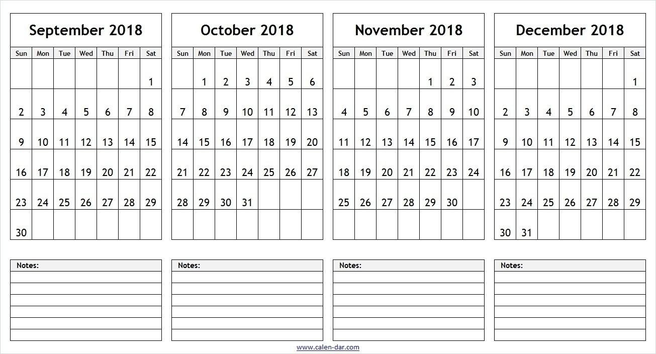 Month Calendar Printable Sept Oct Nov Dec | Template Calendar Printable inside Month Calendar Printable Sept Oct Nov Dec