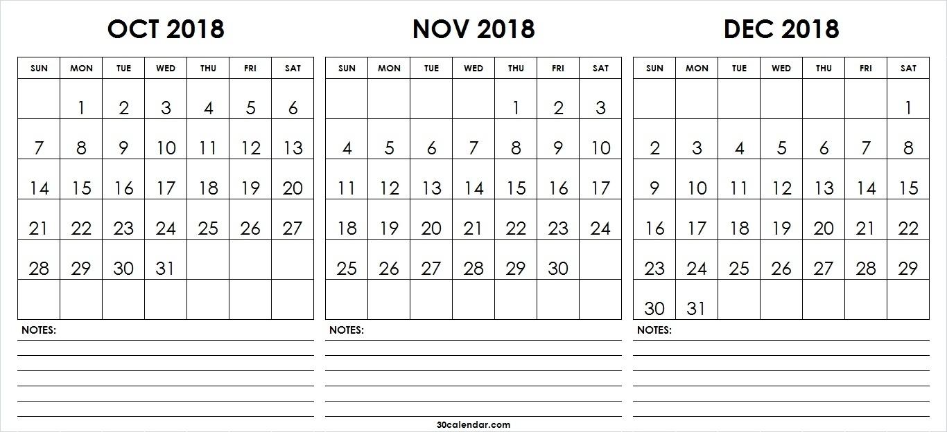 Month Calendar Printable Sept Oct Nov Dec | Template Calendar Printable inside Print Calendar For October November December