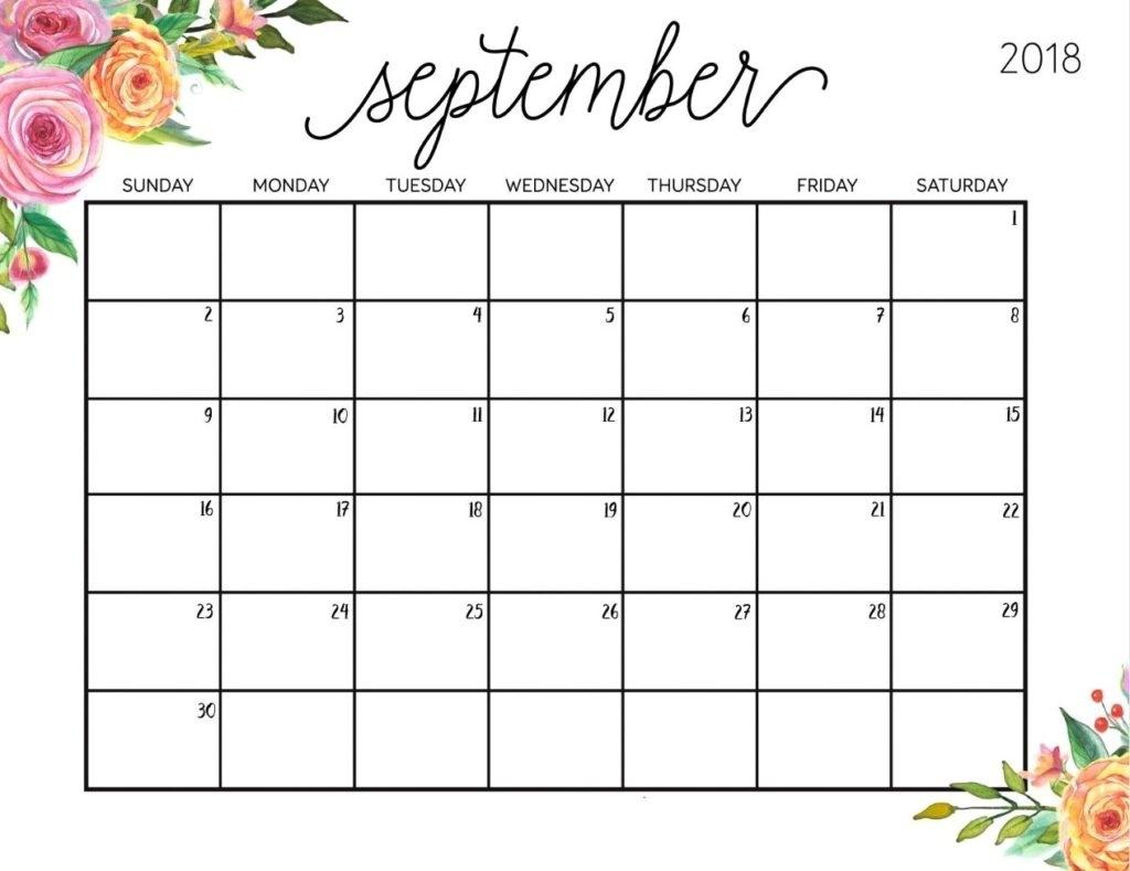 Month September 2018 Calendar | Thegioithamdep in Calendar Of The Month Of September