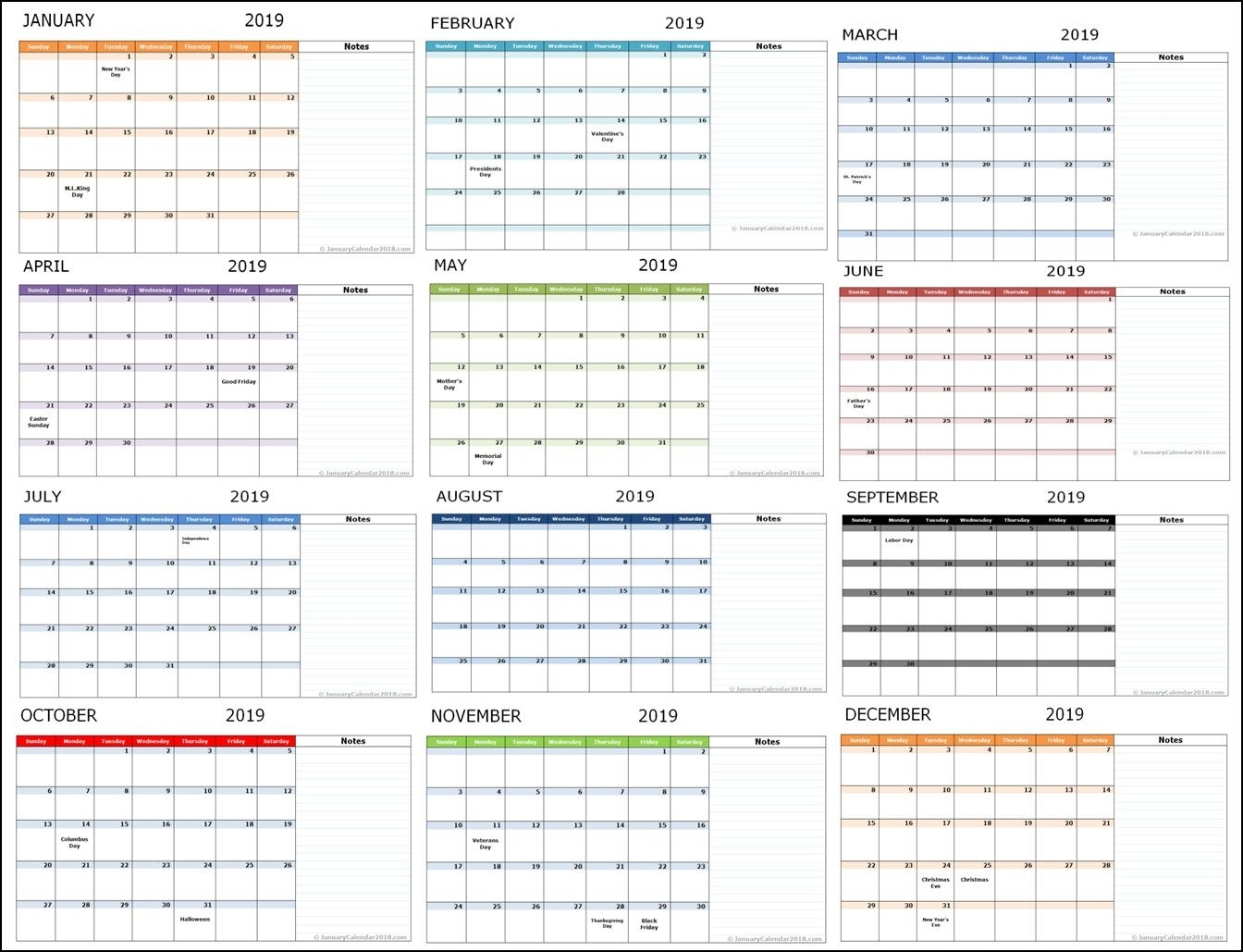 Monthly 2019 Holidays Calendar Template #monthlycalendar #monthly in July August September October November December In Month How Much Holiday