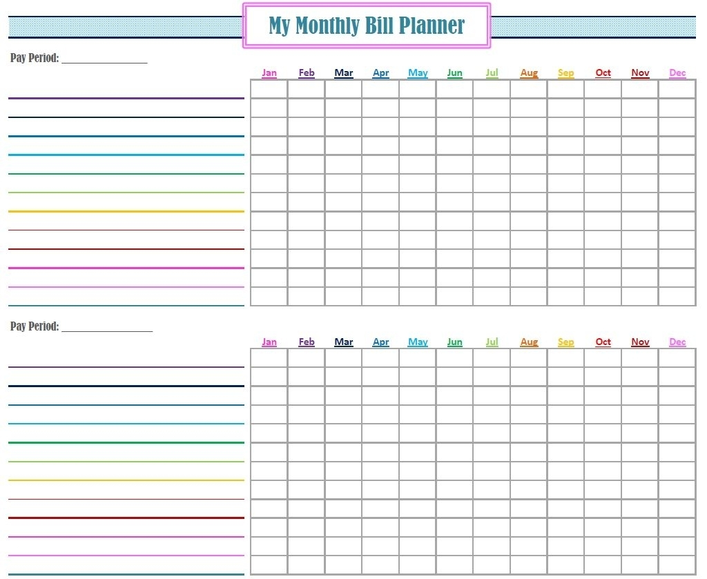 Monthly Bill Log Template Free Printable Monthly Bill Tracker with regard to Printable Monthly Bill Pay Organizer