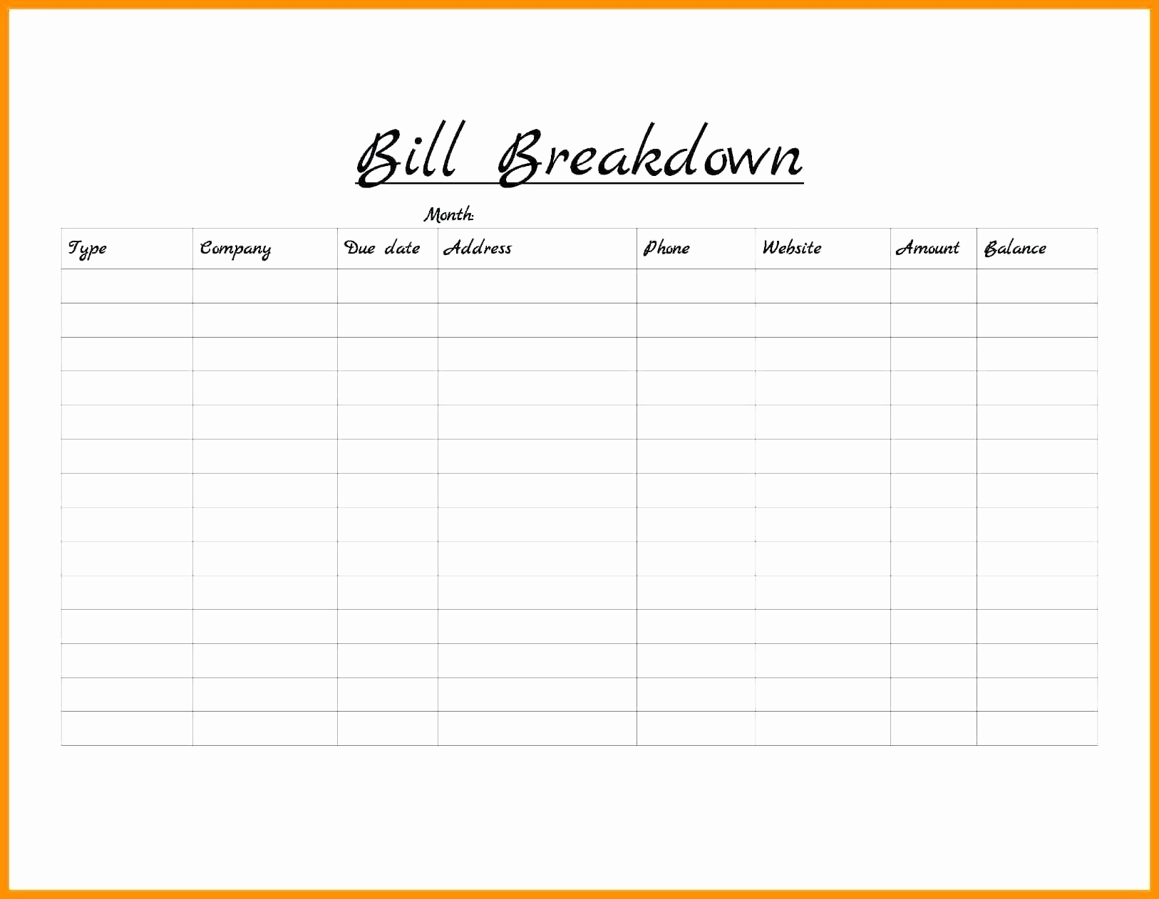 Monthly Bill Organizer Template | Camisonline inside Blank Printable Monthly Bill Organizer