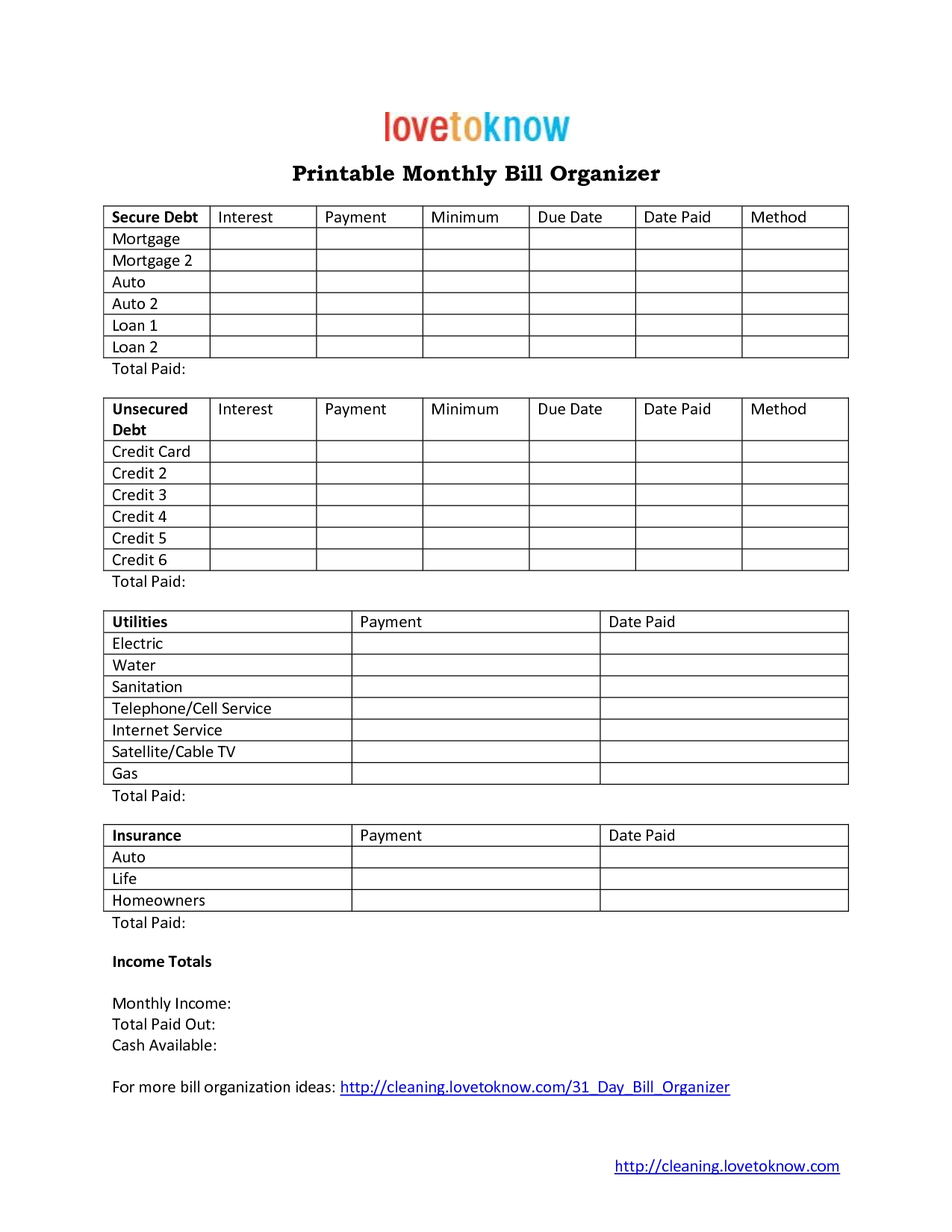 Monthly Bill Organizer Template | Camisonline with Blank Weekly Bill Organizer Printable