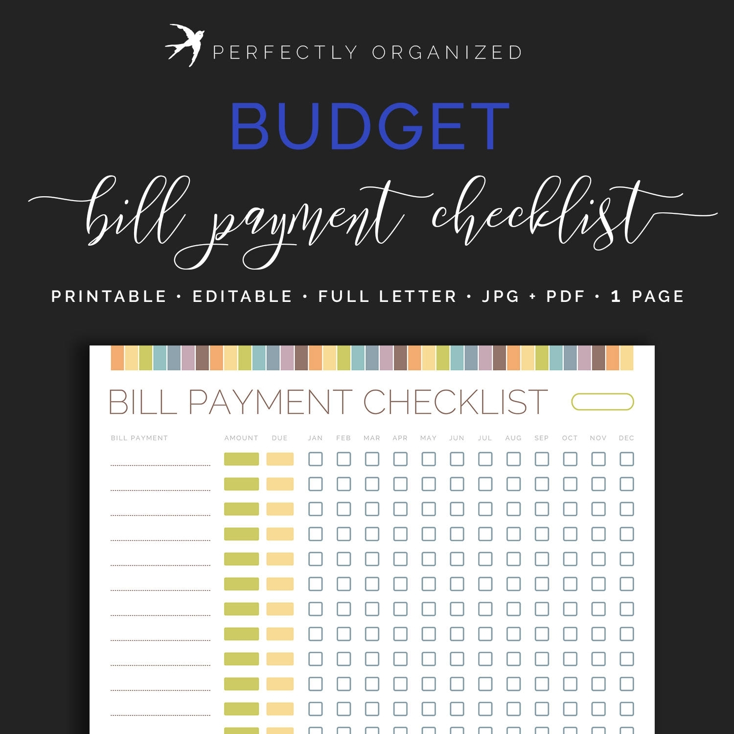 Monthly Bill Payment Tracker Bills Due Date Checklist Payday | Etsy in Payday And Bill Calendar Printable