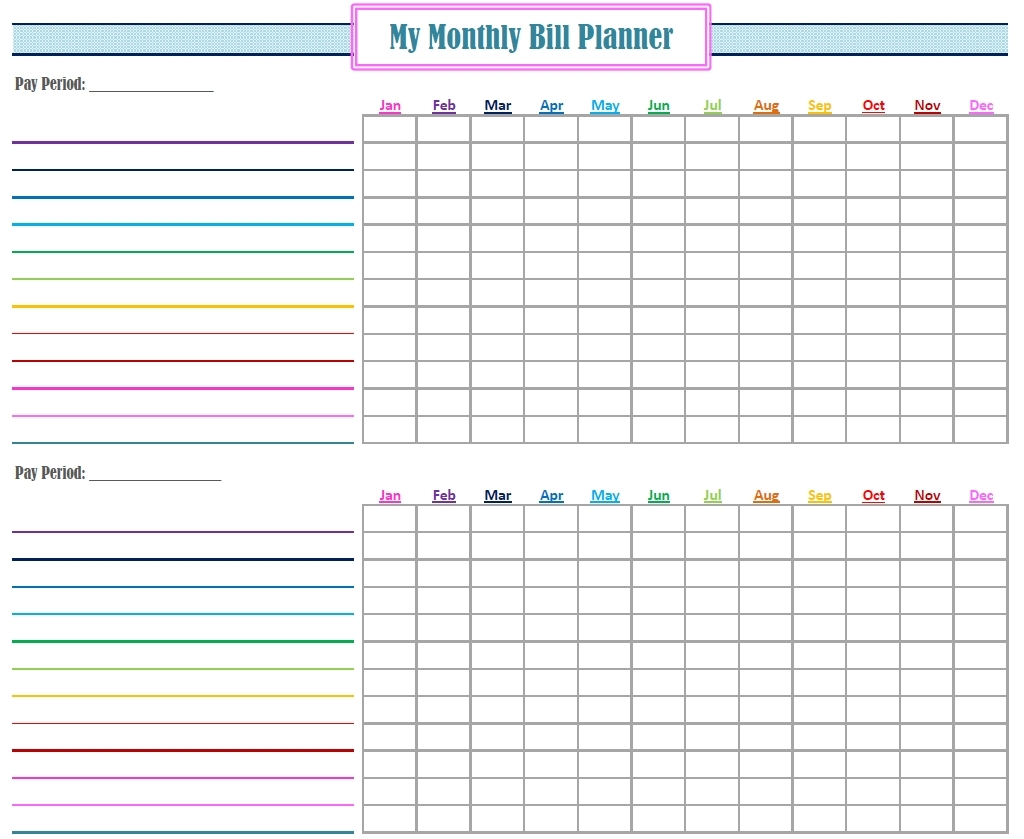 Monthly Bill Planner Printable | Room Surf pertaining to Free Bill Organizer Printable Sheets