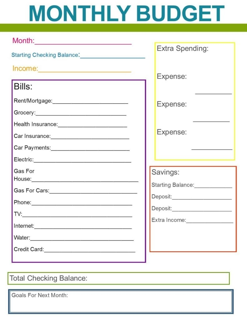 Monthly Bill Spreadsheet Template Free Budget Templates Excel Bills intended for Blank Weekly Bill Organizer Printable