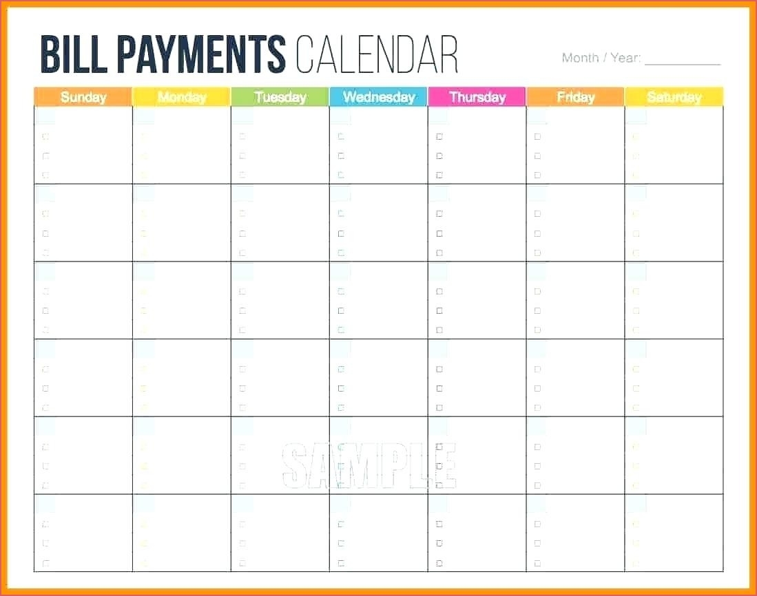 Monthly Bill Template Monthly Bill Calendar Printable for Blank Printable Monthly Bill Calendar