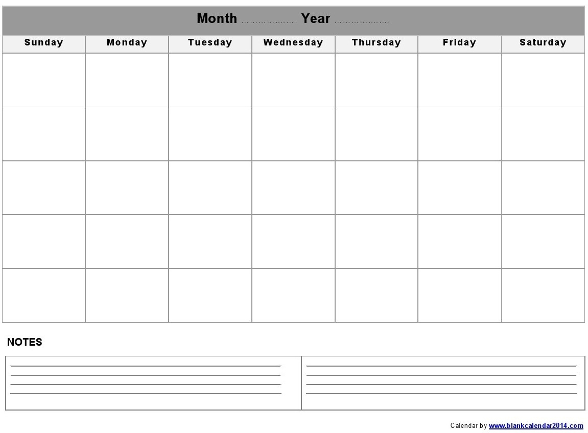Monthly-Blank-Calendar-Notes-Landscape throughout Blank Calendar Template With Notes
