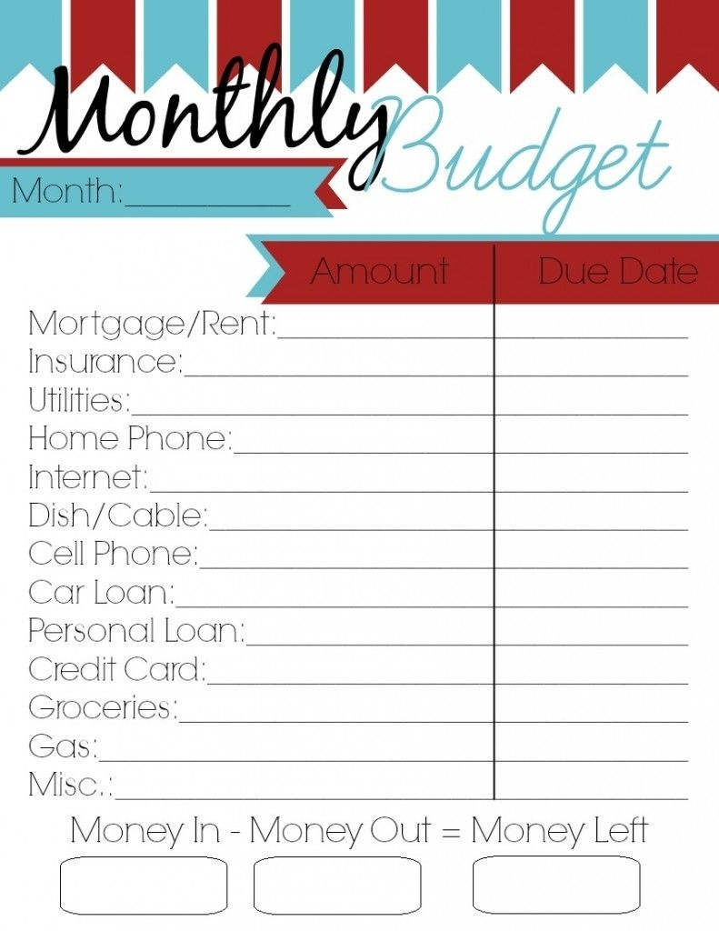 Monthly Budget Printable - Woman Of Many Roles | Printables throughout Free Printable Monthly Household Bills Due Form