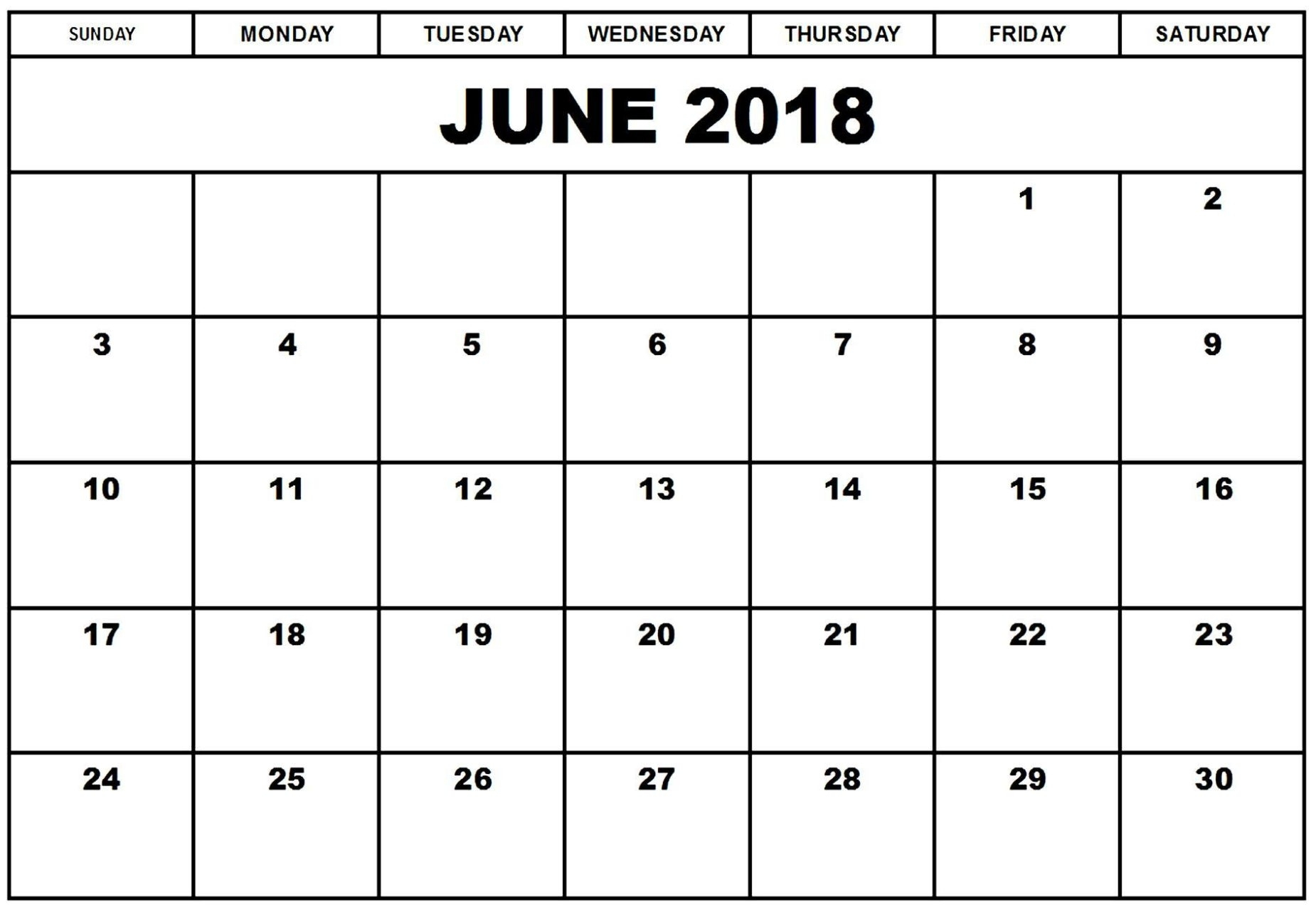 Monthly Calendar June 2018 Template Free Download - July 2019 pertaining to June And July Calendar Printable